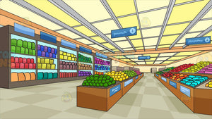 Inside A Brightly Lit Grocery Store Background