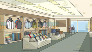 Inside A Clothing Shop For Men Background