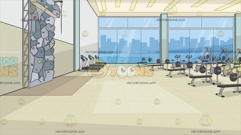Inside A Fancy Gym With Rock Climbing Wall Background