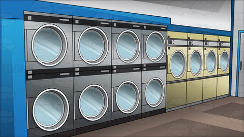 Inside A Laundromat Background