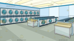 Inside A Modern Laundromat Background
