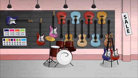 Inside A Shop That Is Selling Musical Instruments
