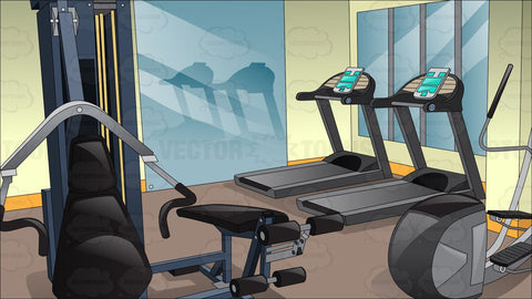 Inside A Small Fitness Center Background