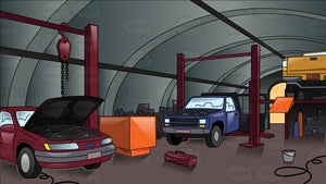 Inside An Auto Repair Shop With Cars