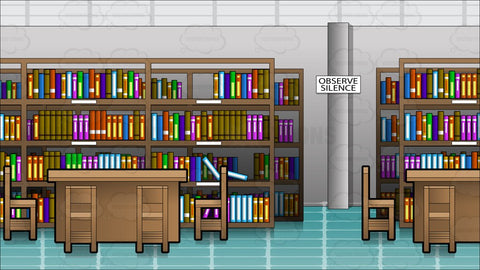 Inside An Empty Library Background