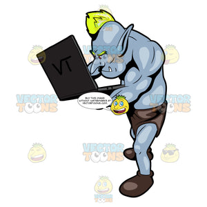 An Internet Troll Analyzing Something On The Laptop