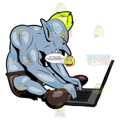 An Internet Troll Chatting Using A Laptop
