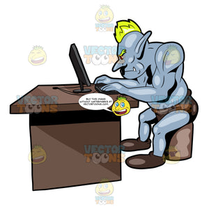 A Troll Enjoying Spending Time Surfing The Net With A Desktop Computer