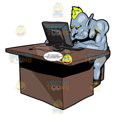 An Internet Troll Reading Something On The Desktop Computer