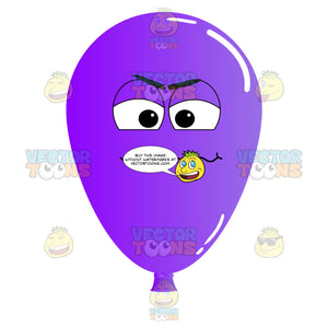 Irritated And Frustrated Purple Balloon Emoji