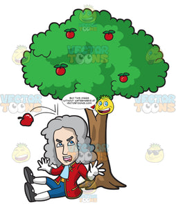 Isaac Newton Gets Hit On The Head By A Falling Apple