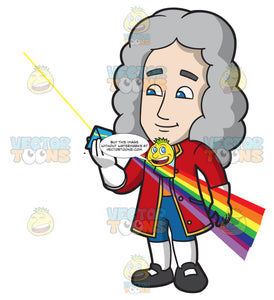 Isaac Newton Looking Through A Color Prism