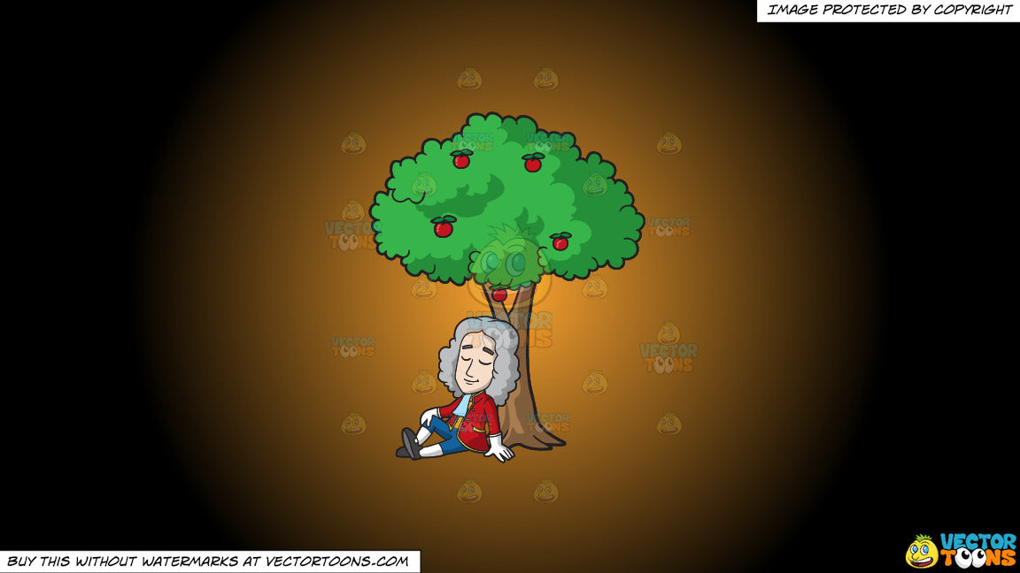 Clipart Isaac Newton Sitting Under An Apple Tree On A Orange And Blac Clipart Cartoons By Vectortoons The illustration is available for download in high resolution quality up to 4921x4921 and in eps file format. vector toons