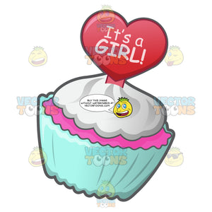A Cute Cupcake In Celebration Of The Birth Of A Baby Girl