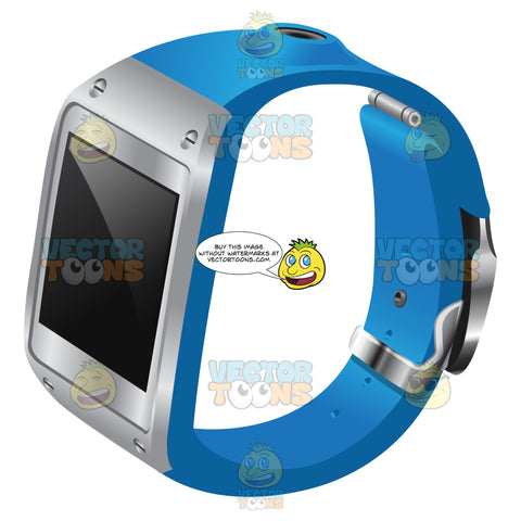 A Smart Watch With Metal Accent And Blue Strap