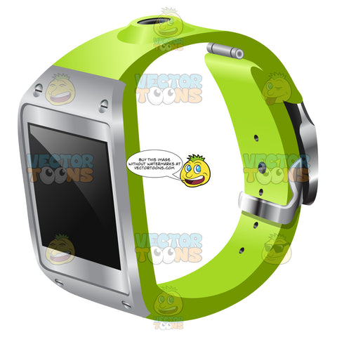 A Smart Watch With Metal Accent And Apple Green Strap