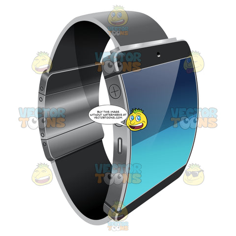 A Smart Watch With Aluminum Accent And Black Strap