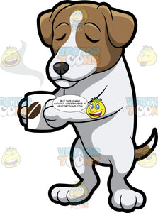 A Jack Russell Terrier Sipping Hot Coffee