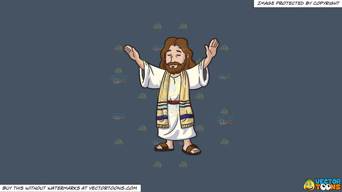 be3e3405a7257 Cartoon clipart: jesus christ concentrates while blessing the people on a  solid metal grey 465362