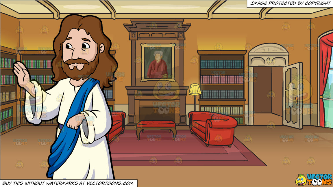 Jesus Christ Giving His Blessings and A Castle Library Background