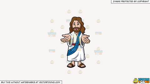 Cartoon clipart: jesus christ lending his hands and welcoming us on a solid white smoke f7f4f3 background