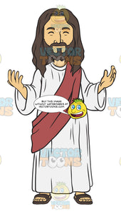 Jesus Standing With His Arms Open A Closed Mouth Smile And His Eyes Closed