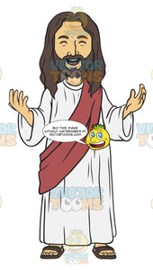 Jesus Standing With His Arms Open And His Mouth Open In A Smile With His Eyes Closed
