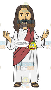 Jesus Standing With An Open Mouth Smile And Eyes Open With His Arms Out