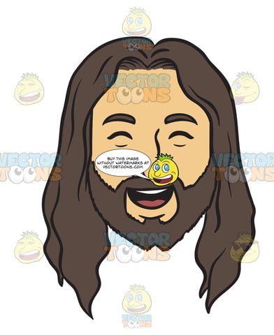 Head Of Jesus With A Very Happy Smile On His Face