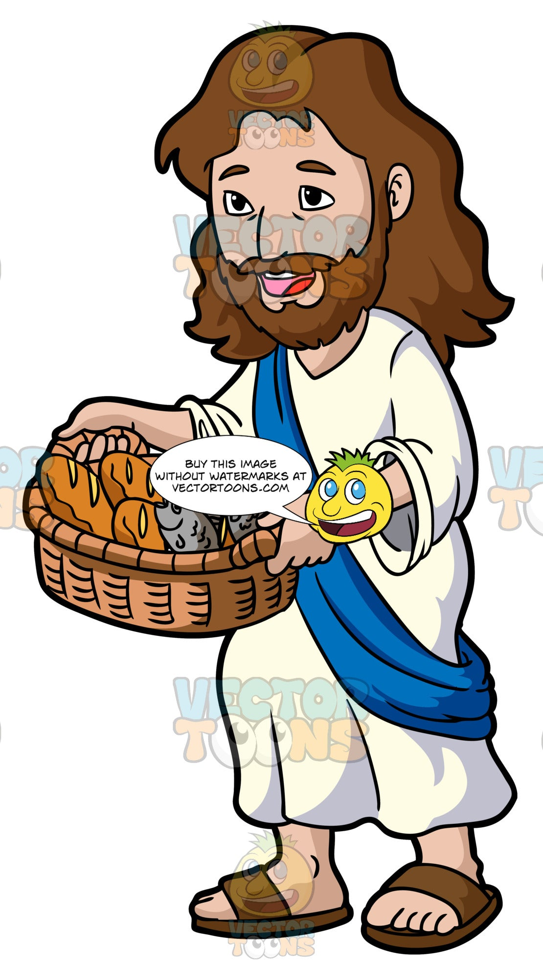 Jesus Christ Carrying A Basket Of Bread And Fish