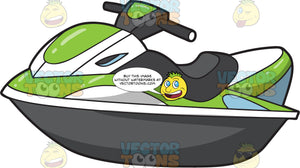 A Standard Green And White Jet Ski