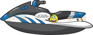 A Sleek Dark Gray And Blue Jet Ski