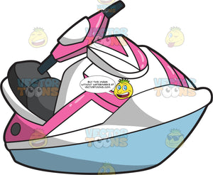 A Traditional Pink And White Jet Ski