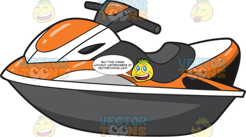 A Classic Orange And White Jet Ski