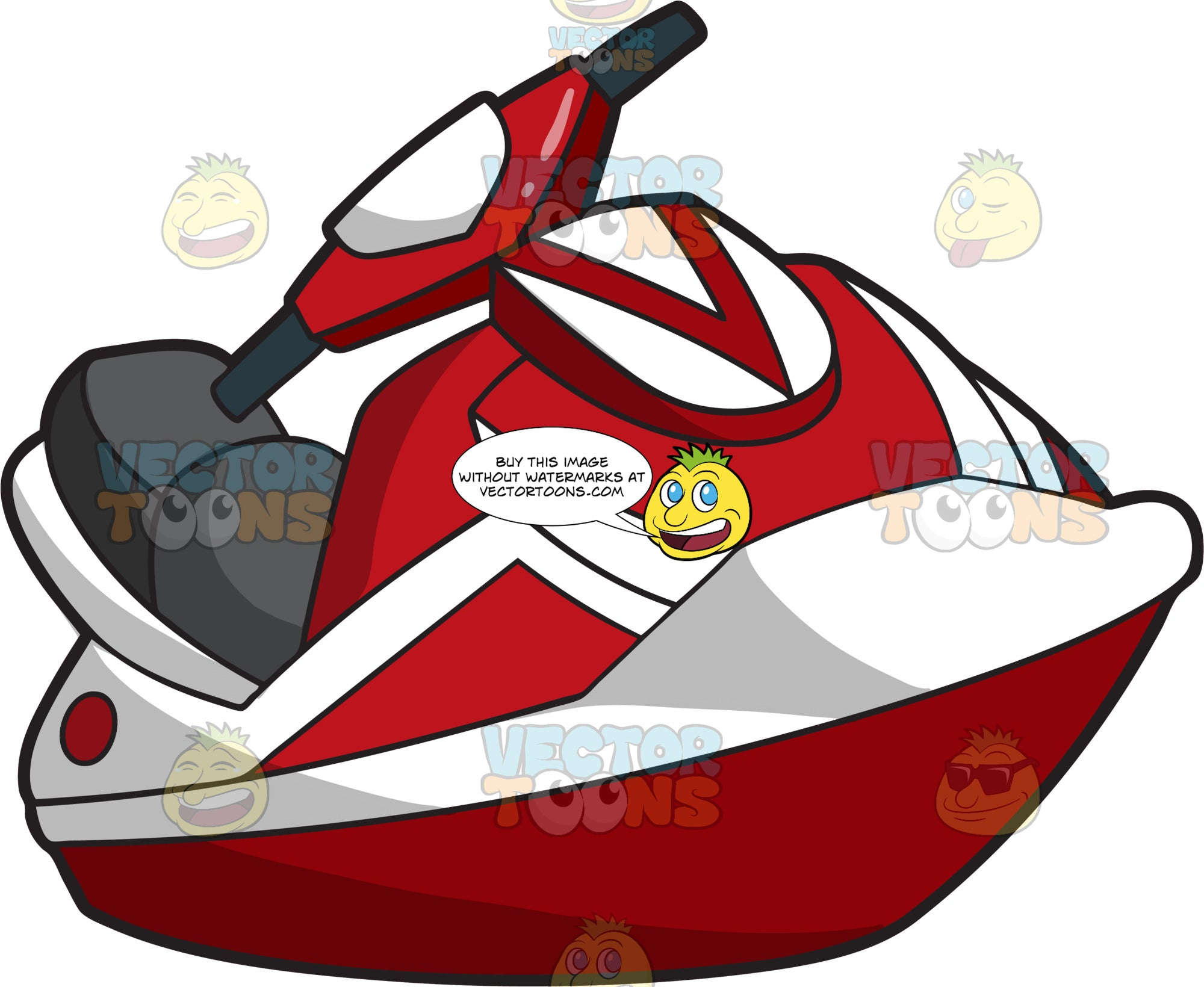 A Red And White Jet Ski