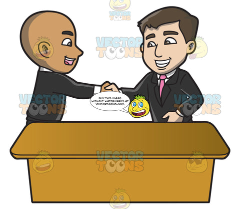 A man shaking the hand of a newly hired employee