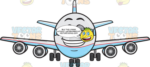 Jumbo Jet Plane Smiling Wide Showing Set Of Pearly Whites Emoji