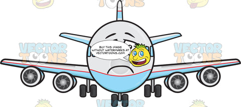 Jumbo Jet Plane With Depressed Look On Face Emoji