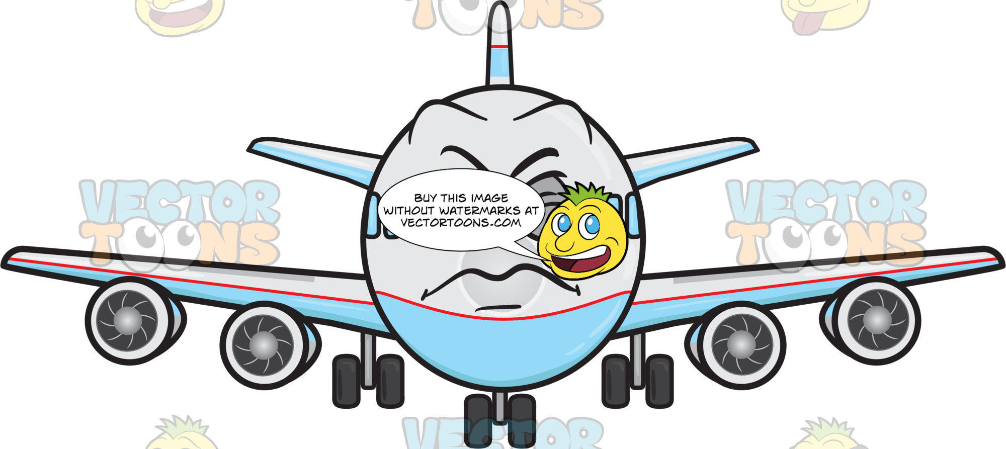 Jumbo jet plane with disgusted look on face emoji clipart cartoons by vectortoons