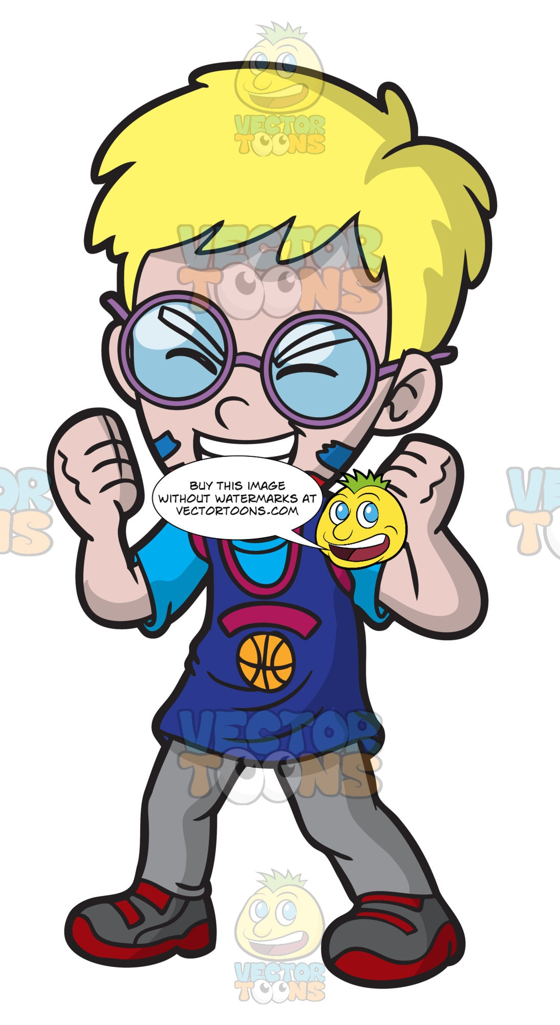 A Cheerful Basketball Nerd Clipart Cartoons By Vectortoons