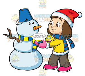 A Girl Making A Snowman