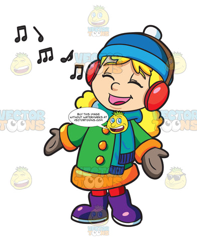 A Girl Singing Along To A Christmas Song Playing On Her Headphones