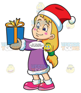 Christmas Giving Clipart.A Girl Giving Her Christmas Gift