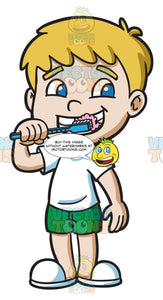 A Boy Brushing His Teeth