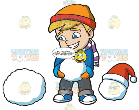 A Boy Stacking Snowballs To Build A Snowman