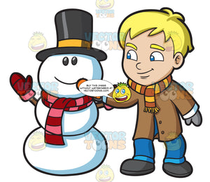 A Boy Placing Carrot Nose On A Snowman