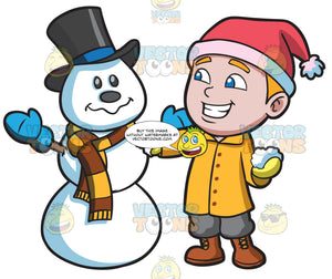 A Boy Patching Up A Snowman
