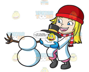 A Girl Stacking The Head Of A Snowman