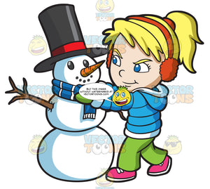 A Girl Fixing The Scarf Of A Snowman