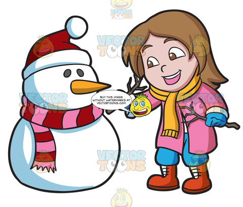 A Girl Placing Tree Stems To Make The Arms Of A Snowman